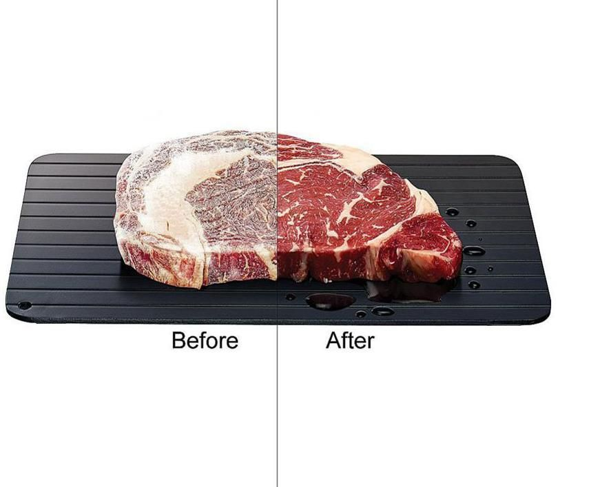 ThawTable - Defrosting Food Reimagined - Best Defrosting Tray - Before and after side by side of steak on a ThawTable Travel Size Thawing Tray for Camping, Dorms, Backpacking, Apartments and Travel - Defrost Meat, Veggies, and anything Frozen solid for a magical and rapid thaw