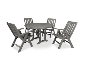 POLYWOOD® Vineyard 5-Piece Nautical Trestle Folding Dining Set