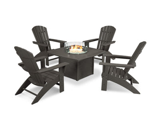 POLYWOOD® Nautical Curveback Adirondack 5-Piece Set with Fire Table in Vintage