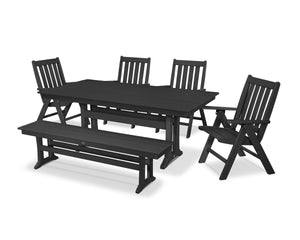 POLYWOOD® Vineyard 6-Piece Farmhouse Folding Dining Set with Bench