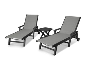 POLYWOOD® Coastal 3-Piece Wheeled Chaise Set