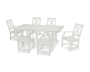 Polywood Braxton 7 Piece Rustic Farmhouse Dining Set In Vintage American Backyard
