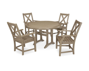 POLYWOOD® Braxton 5-Piece Nautical Trestle Arm Chair Dining Set in Vintage