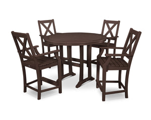 POLYWOOD® Braxton 5-Piece Nautical Trestle Arm Chair Counter Set