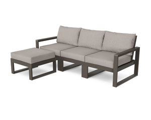 POLYWOOD® EDGE 4-Piece Modular Deep Seating Set with Ottoman in Vintage