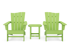 POLYWOOD® Wave 3-Piece Adirondack Chair Set in Vintage Finish