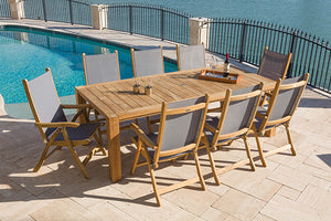 Royal Teak Florida Sling 9-Piece Dining Group
