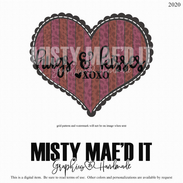 Hugs and Kisses-wood and leopard heart