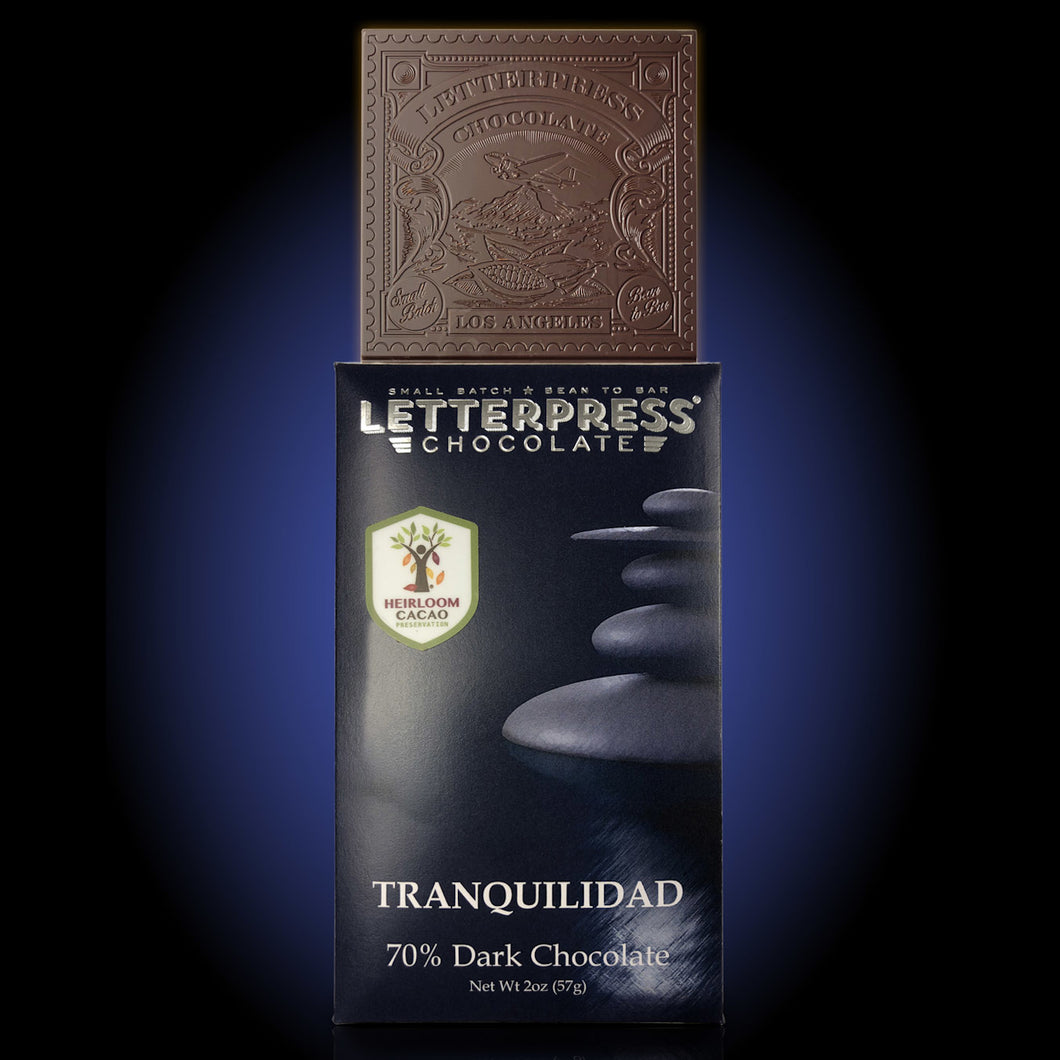 Letterpress Tranquilidad Dark Chocolate Bar - Barometer Chocolate