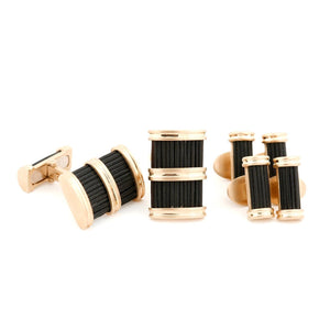 Brant horn cufflinks & studs set in rose gold Zadeh NY