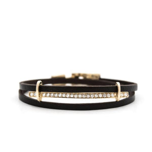 San remo leather bracelet yellow gold & diamonds Bracelets Zadeh NY Shop