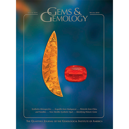 Cover of Gems & Gemology Winter 2010 issue, featuring multifaceted yellow and orange gemstones