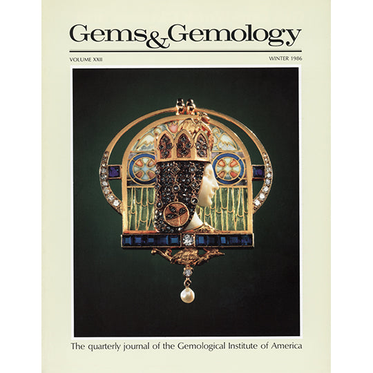 Cover of Gems & Gemology Winter 1986 issue, featuring flat sculpture of queen made from jewels and metals