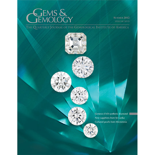 Cover of Gems & Gemology Summer 2012 issue, featuring polished diamonds against a light green gem background