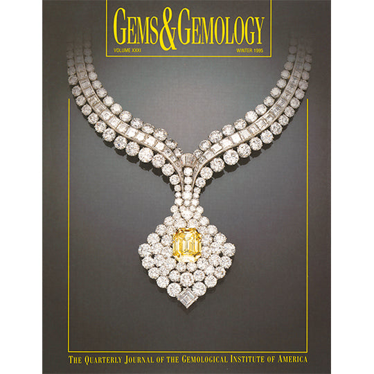 Cover of Gems & Gemology Winter 1995 issue, featuring thick necklace-shaped diamond encrusted art object