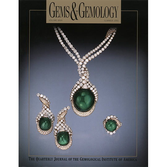 Cover of Gems & Gemology Summer 1991 issue, featuring round green gems encased by golden gem strands