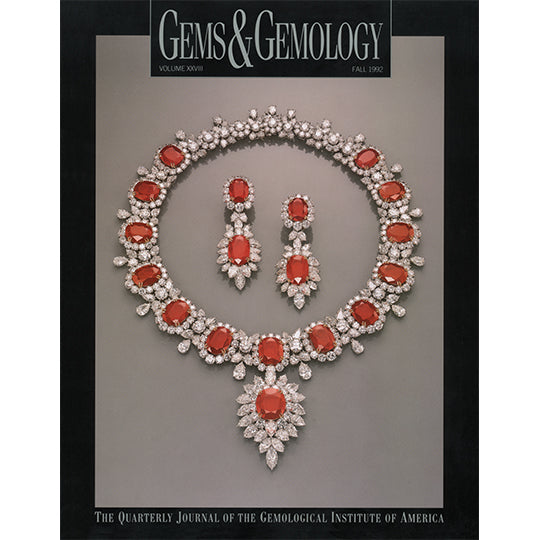 Cover of Gems & Gemology Fall 1992 issue, featuring red and silver gemstone necklace