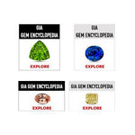 "Group of 4 different web buttons, each with title ""GIA Gem Encyclopedia"", gem, and link ""Explore"""