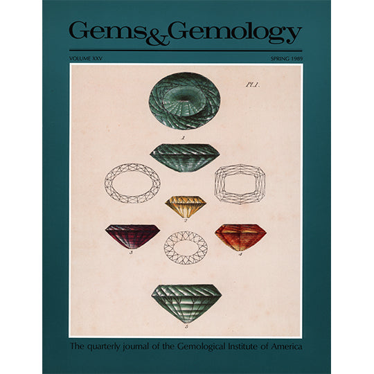 Cover of Gems & Gemology Spring 1989 issue, featuring illustrations of many faceted gemstones