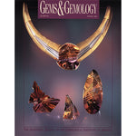Cover of Gems & Gemology Spring 1994 issue, featuring golden gem pieces with detailed carved lines and patterns