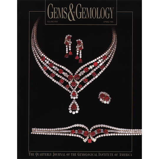 Cover of Gems & Gemology Spring 1995 issue, featuring silver and red gemstone jewelry