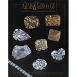 Cover of Gems & Gemology Spring 1996 issue, featuring transparent and gold gemstones, both rough and polished