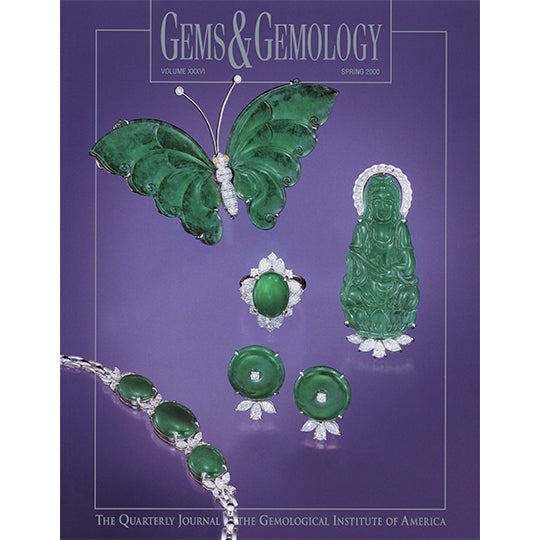 Cover of Gems & Gemology Spring 2000 issue, featuring green gemstone carvings and jewelry