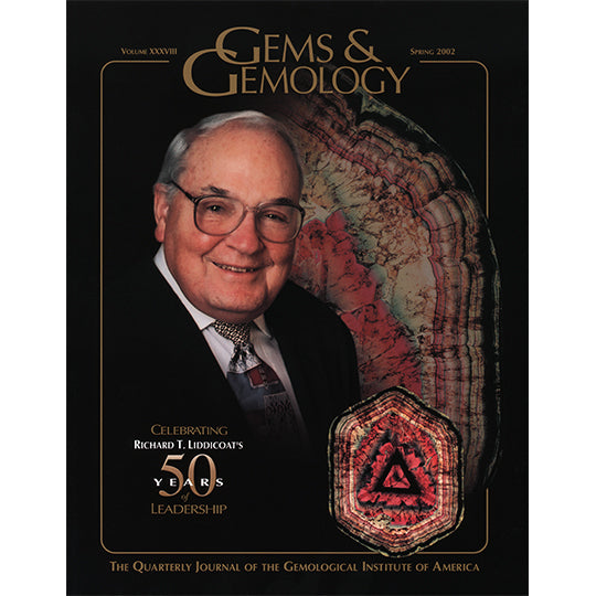 Cover of Gems & Gemology Spring 2002 issue, featuring Richard Liddicoat and Liddicoatite