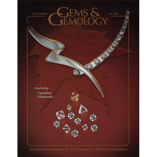 Cover of Gems & Gemology Fall 2002 issue, featuring diamonds and dynamic silver lines