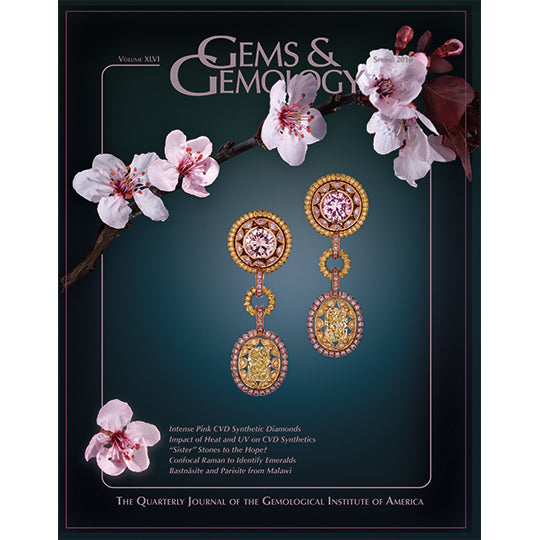 Gems & Gemology Spring 2010 issue, featuring cherry blossoms and pink jewel earrings