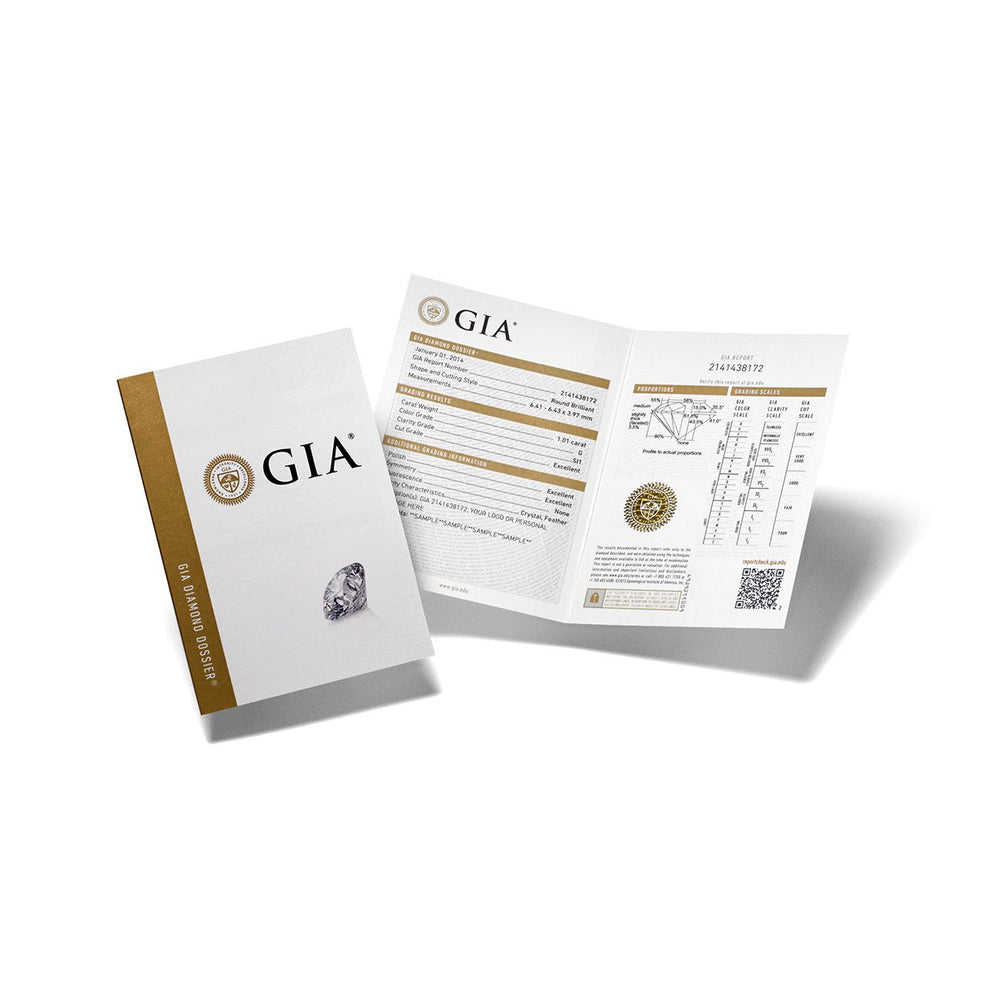 GIA Diamond Dossier report cover next to opened brochure