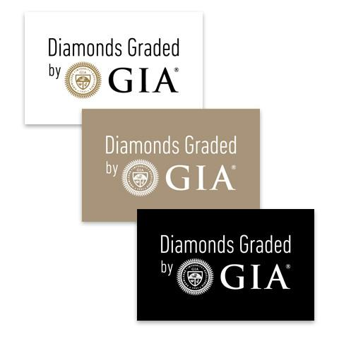 "Group of 3 rectangular white, tan, and black graphics, each with text ""Diamonds Graded by GIA"""