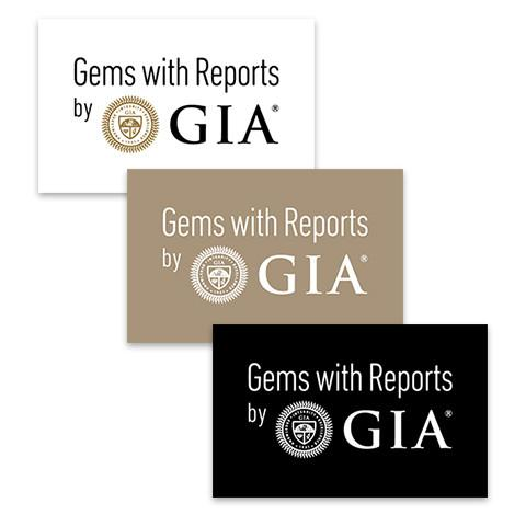"3 rectangular tan, white, and black graphics, each with text ""Gems with Reports by GIA"""