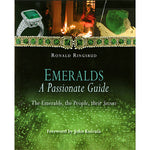 Cover of Emeralds, A Passionate Guide, featuring emerald jewelry, candlelit ceremony, and close up photo of emerald