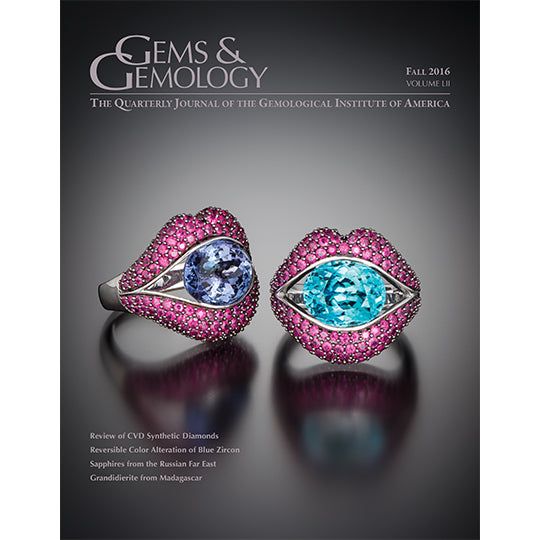 Cover of Gems & Gemology Fall 2016 issue, featuring lip-shaped rings holding gemstones inside 'mouth""