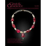 Cover of Gems & Gemology Fall 2019 issue, featuring necklace made with pearls and thick red gems