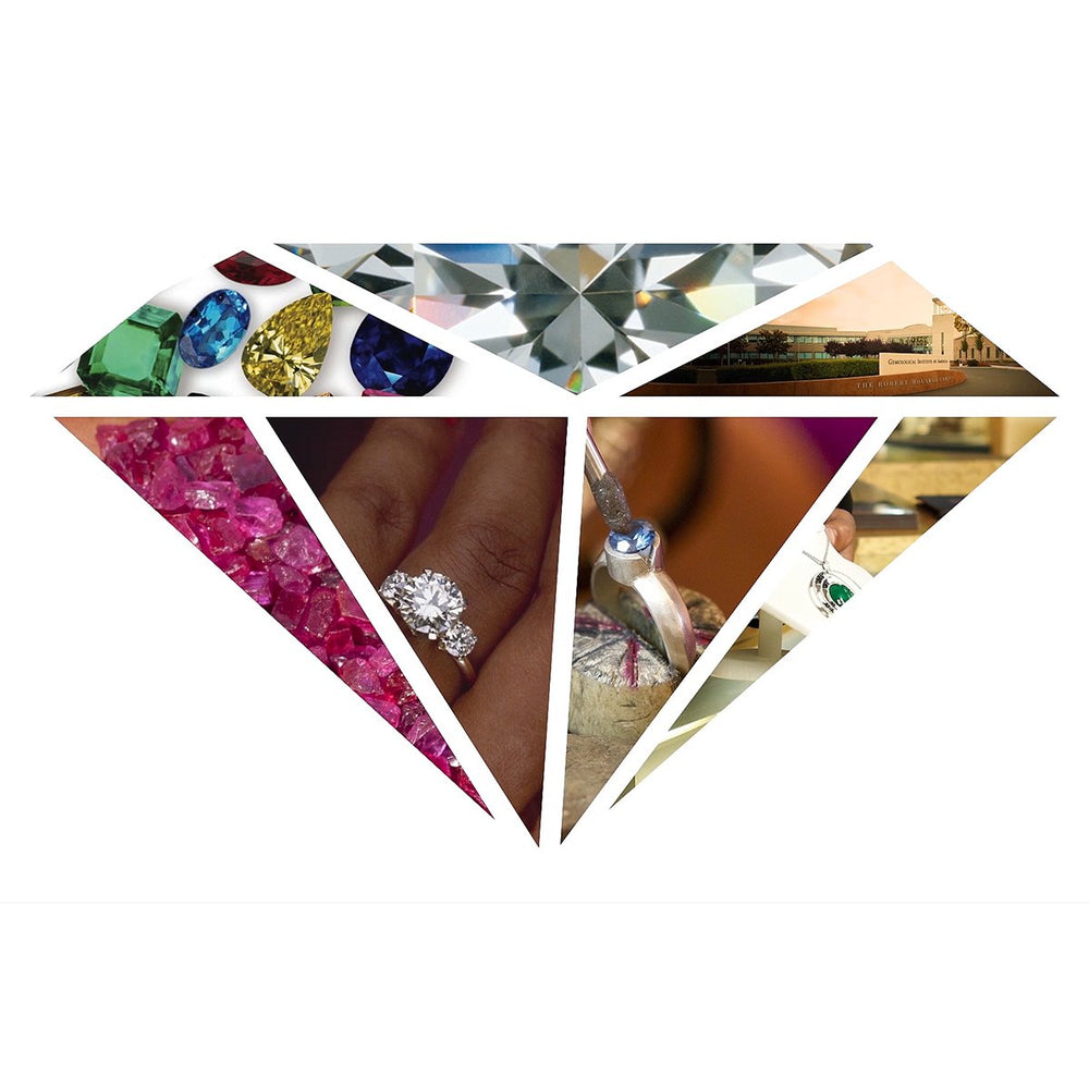 GIA diamond logo overlayed with images of gems, jewelry, and GIA campus
