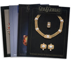 Stack of 4 1992 Gems & Gemology issues; top issue features gold jewelry with white stones