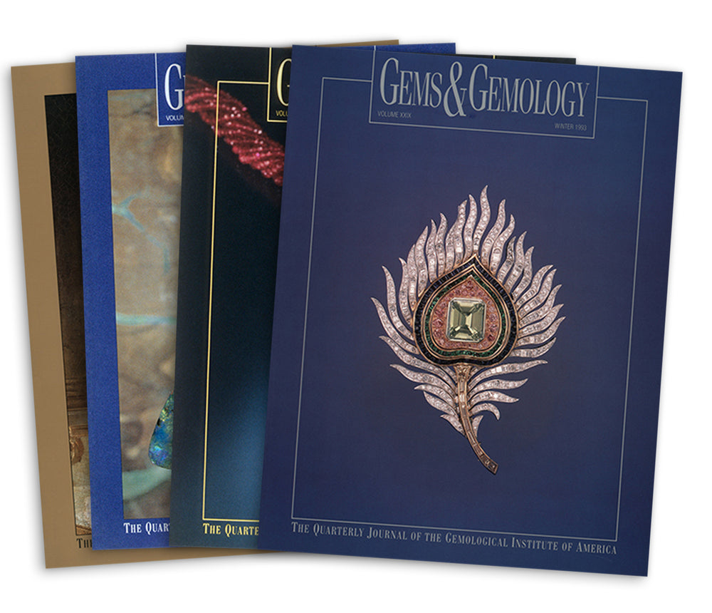 Stack of Stack of 4 1993 Gems & Gemology issues; top issue features pink metal leaf with gemstone