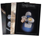 Stack of 4 1996 Gems & Gemology issues; top issue features grouping of 5 jewel encrusted rings