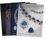 Stack of 4 1997 Gems & Gemology issues; top issue features string of blue and silver jewels