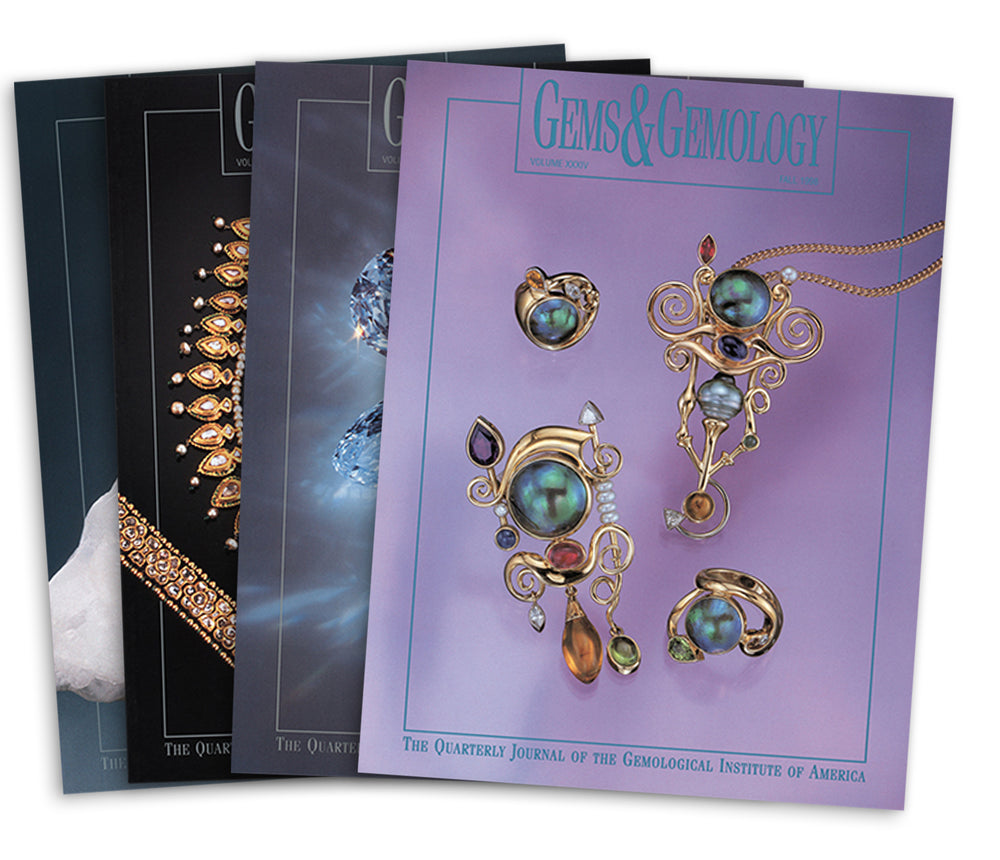 Stack of 4 1998 Gems & Gemology issues; top issue features whimsical pieces of artwork with jewels