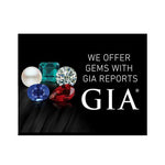 "Graphic with text ""We offer gems with GIA report"", group of 5 gems, GIA logo, and black background"