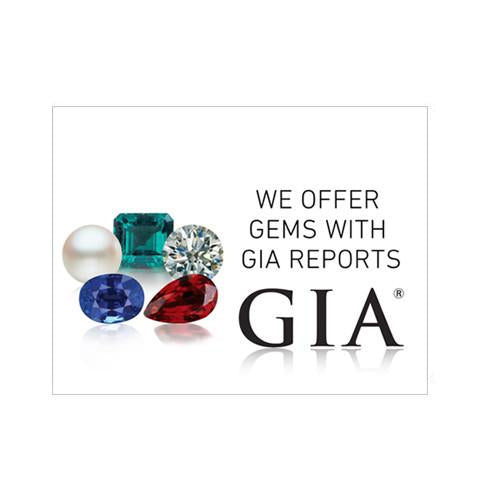 "Graphic with text ""We offer gems with GIA reports"", group of 5 gems, GIA logo, and white background"