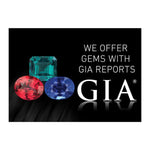 "Graphic with text ""We offer gems with GIA reports"", 3 colored gems, GIA logo, and black background"