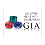 "Graphic with text ""We offer gems with GIA reports"", 3 colored gems, GIA logo, and white background"