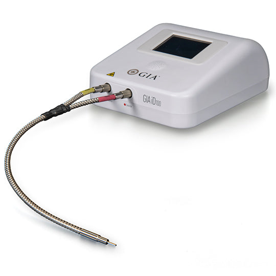 GIA iD100, white device with small digital screen and attached silver cord with testing probe