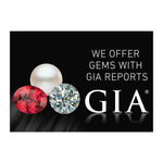 "Graphic with text ""We Offer Gems With GIA Reports"", group of 3 gems, GIA logo, and black background"