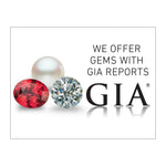 "Graphic with text ""We Offer Gems With GIA Reports"", group of 3 gems, GIA logo and white background"
