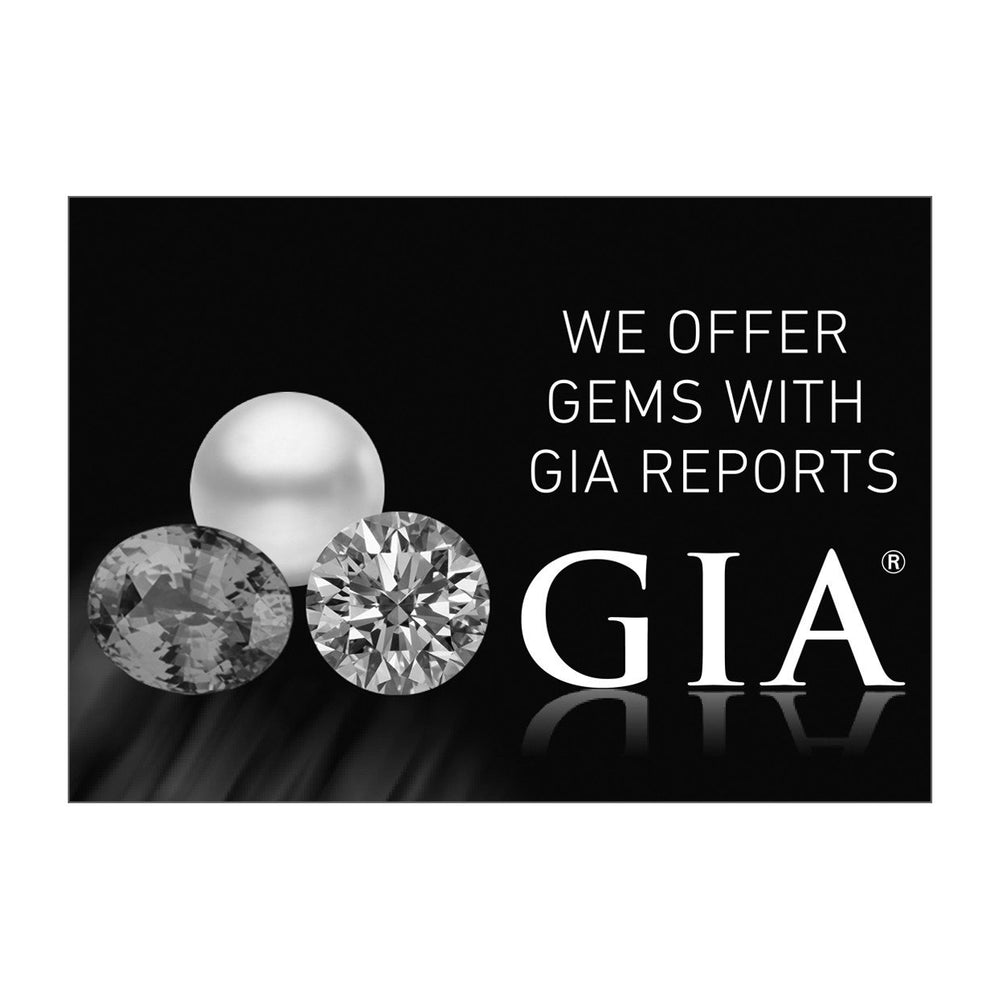 "Grayscale graphic with text ""We Offer Gems With GIA Reports"", group of 3 gems, GIA logo, and black background"